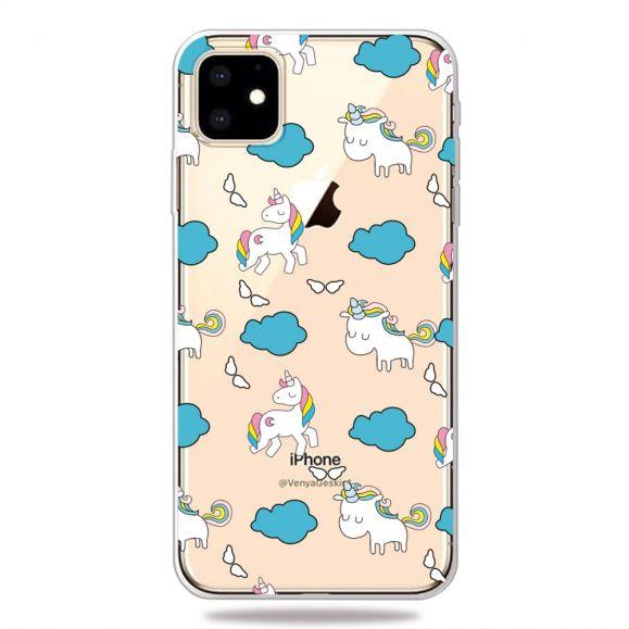 iPhone 11 - Coque transparente licornes et nuages