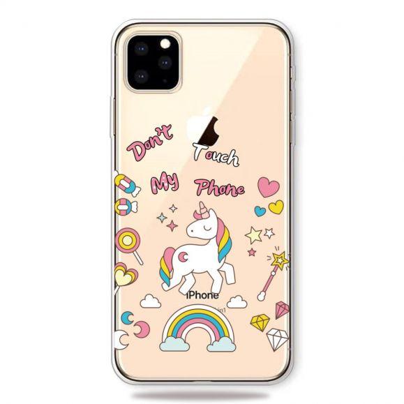iPhone 11 Pro Max - Coque ne touchez pas mon téléphone avec licorne