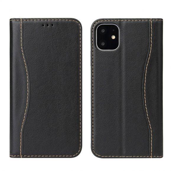 iPhone 11 Pro - Housse cuir véritable coutures apparentes