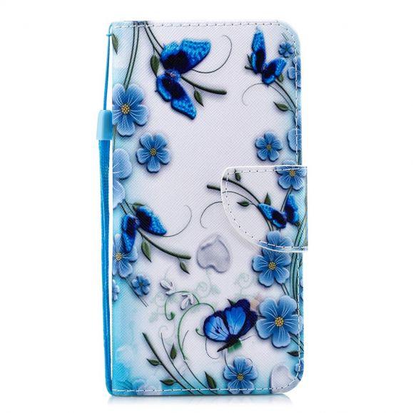 Samsung Galaxy Note 10 Plus - Housse fleurs bleues et papillons
