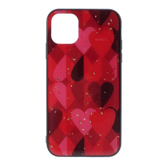 iPhone 11 - Coque coeurs avec feuilles dorées
