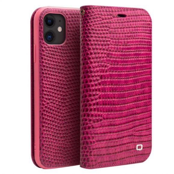 iPhone 11 - Housse cuir véritable effet croco - Rose