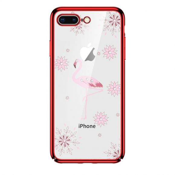 iPhone 8 Plus / 7 Plus - Coque transparente flamant rose