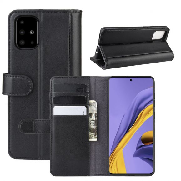 Samsung Galaxy A51 - Housse cuir premium porte-cartes - Noir