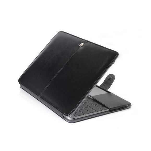 Housse MacBook 12 pouces Simili Cuir - Noir