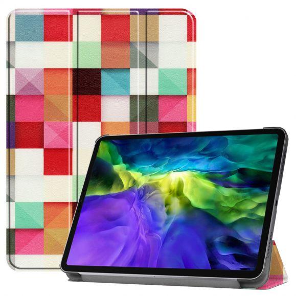 Housse iPad Pro 11 (2020) avec rabat intelligent carreaux colorés