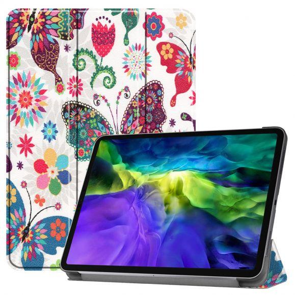 Housse iPad Pro 11 (2020) avec rabat intelligent papillons et fleurs