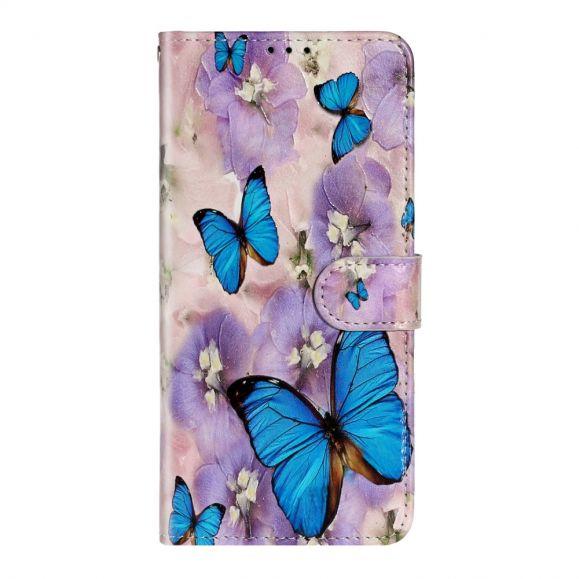 Housse Samsung Galaxy A71 papillons bleus et fleurs