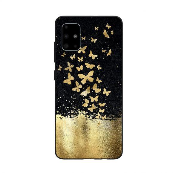 Coque Samsung Galaxy A71 papillons dorés