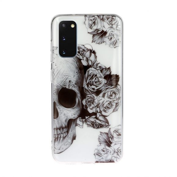 Coque Samsung Galaxy S20 Silicone Rose Skull