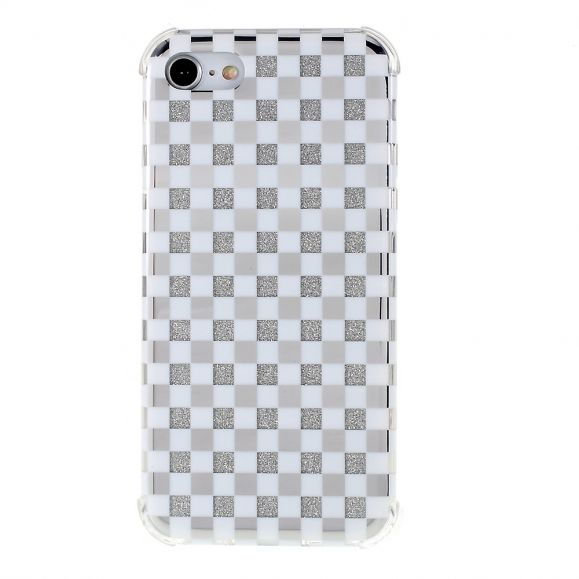 Coque iPhone SE / 8 / 7 paillettes carreaux