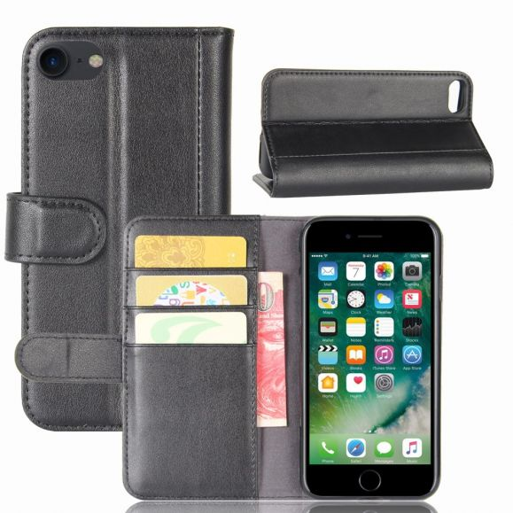 Housse portefeuille iPhone SE / 8 / 7 cuir premium