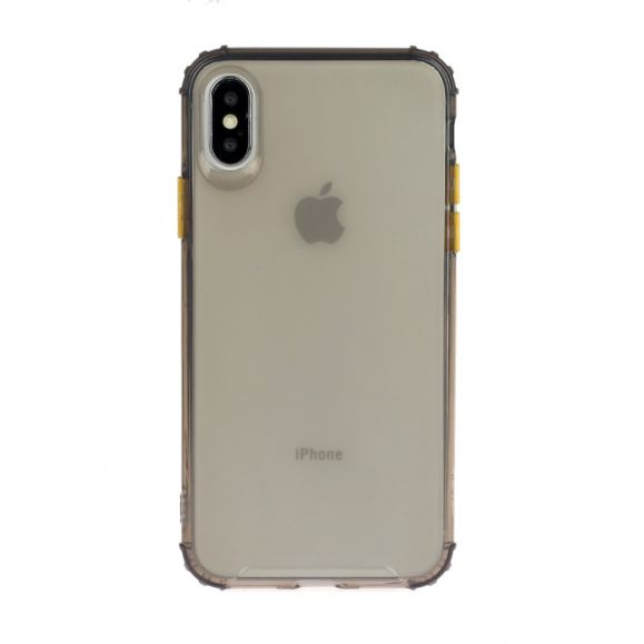 Coque iPhone XS / X semi transparent avec bouton couleur