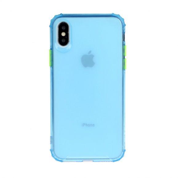 Coque iPhone XS / X semi transparent avec bouton couleur