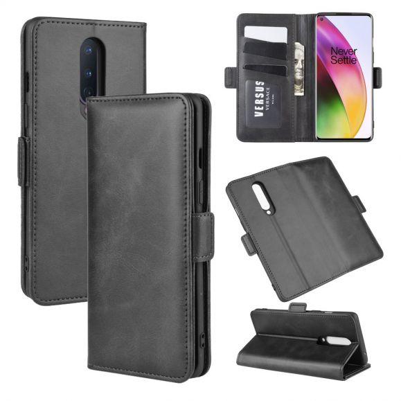 Housse OnePlus 8 portefeuille revêtement simili cuir mat