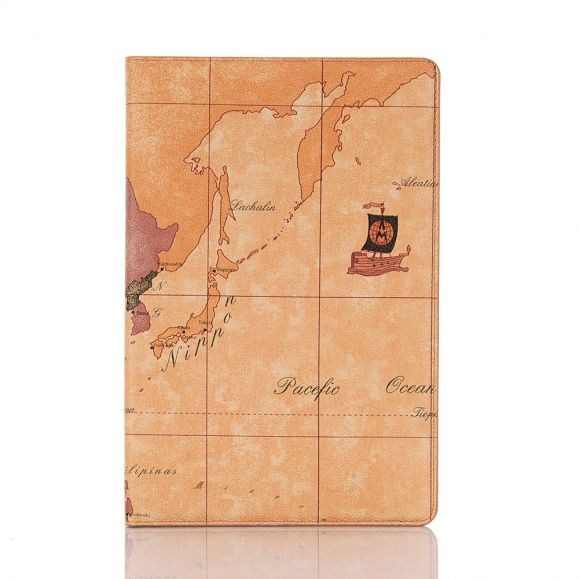 Housse Samsung Galaxy Tab S6 Carte du Monde - Marron