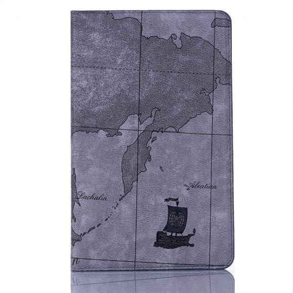 Housse Samsung Galaxy Tab S6 Carte du Monde - Gris