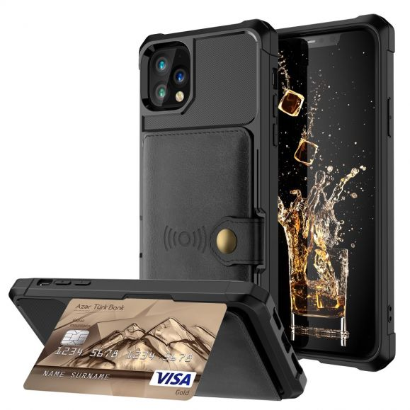 Coque iPhone 11 Pro Max effet cuir porte cartes