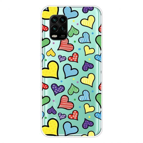 Coque Xiaomi Mi 10 Lite coeurs colorés