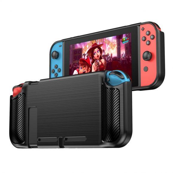 Coque Nintendo Switch Effet Brossé Carbone