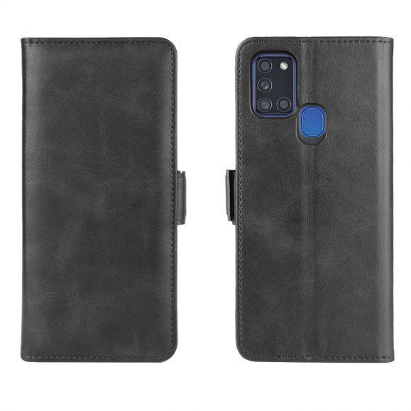 Housse Samsung Galaxy A21s simili cuir mat portefeuille