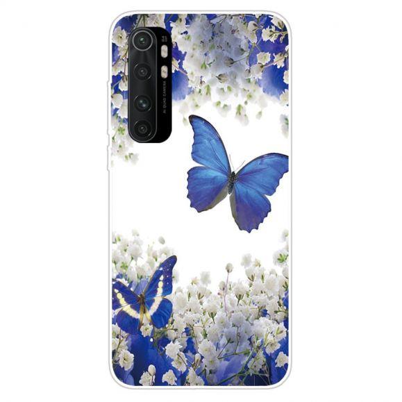 Coque Xiaomi Mi Note 10 Lite Fleurs et Papillons Bleus
