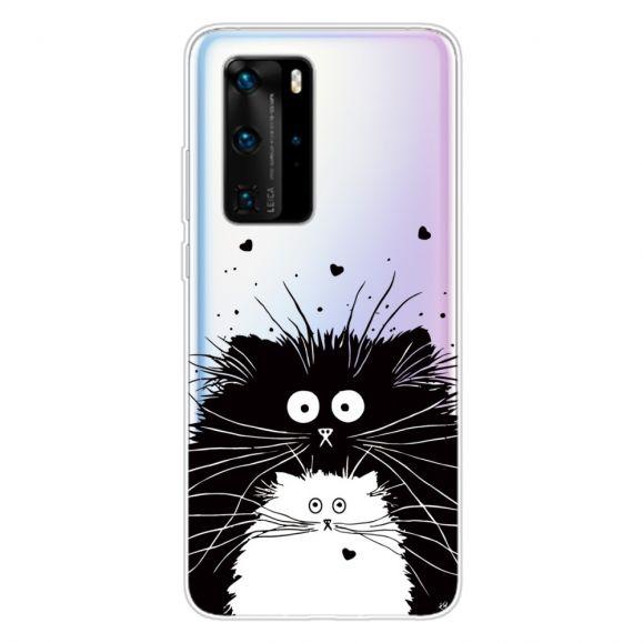 Coque Huawei P40 Pro chats noir et blanc