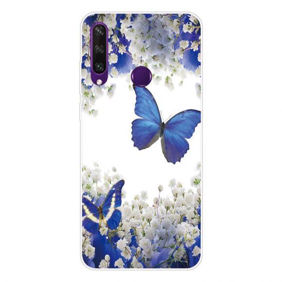 Coque Huawei Y6p Fleurs et Papillons Bleus