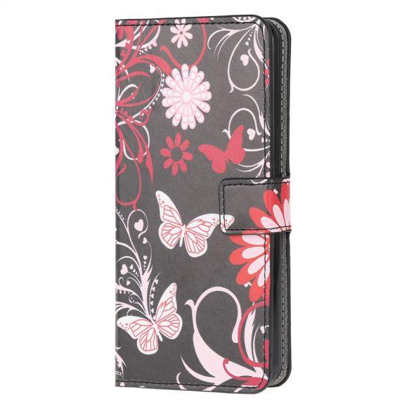 Housse Huawei Y5p papillons et fleurs