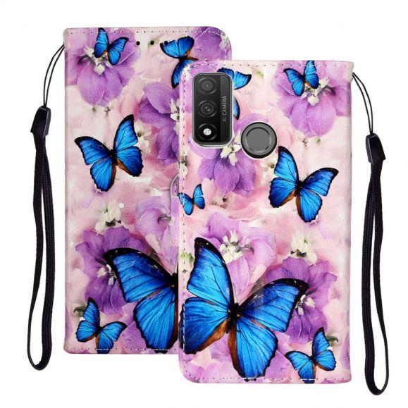 Housse Huawei P Smart 2020 papillons bleus et fleurs