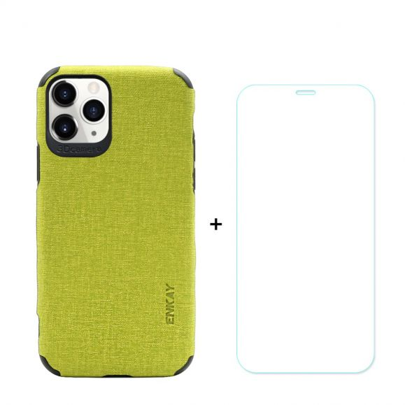 Coque iPhone 11 Pro Max Effet Toile + Film en verre trempé