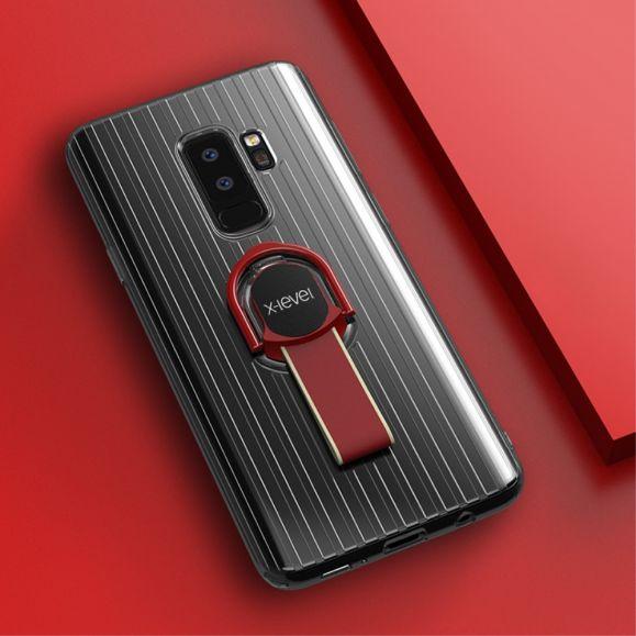 Coque Samsung Galaxy S9 Plus transparente avec anse - Rouge