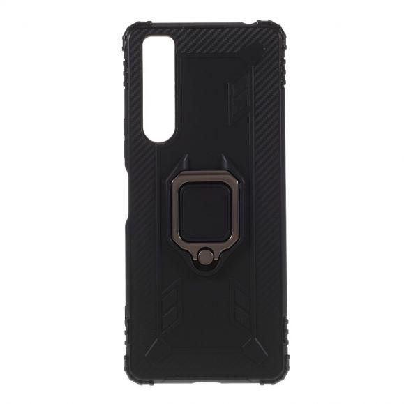 Coque Sony Xperia 1 II Aspect Carbone avec Anneau Support