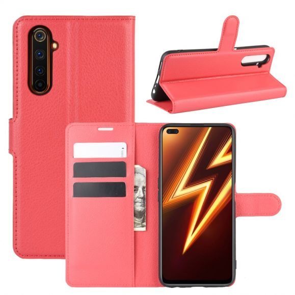 Housse Realme 6 Pro portefeuille style cuir - Rouge