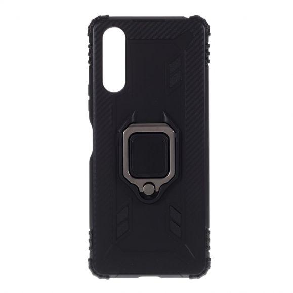Coque Sony Xperia 10 II Aspect Carbone avec Anneau Support