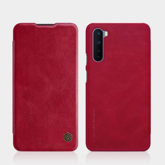 Housse OnePlus Nord Qin Series Effet Cuir - Rouge