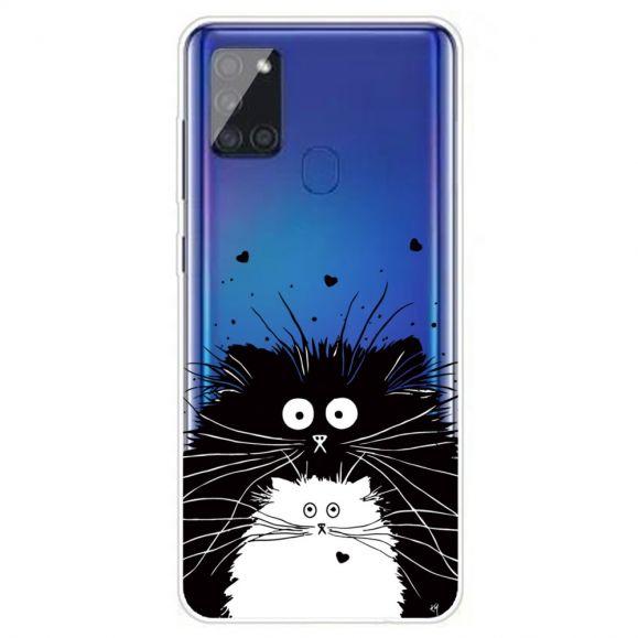 Coque Samsung Galaxy A21s chats noir et blanc