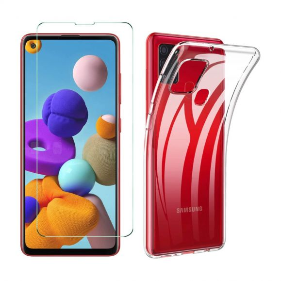 Coque Samsung Galaxy A21s + film protecteur en verre trempé