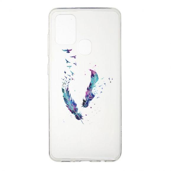 Coque Samsung Galaxy A21s plumes et oiseaux