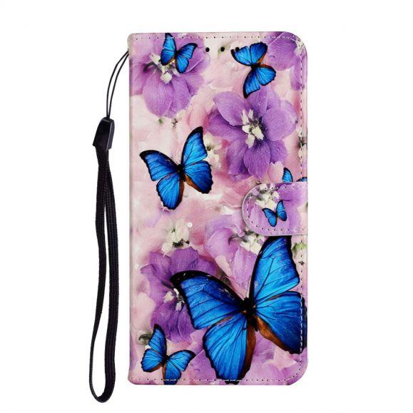 Housse Samsung Galaxy A31 papillons bleus et fleurs