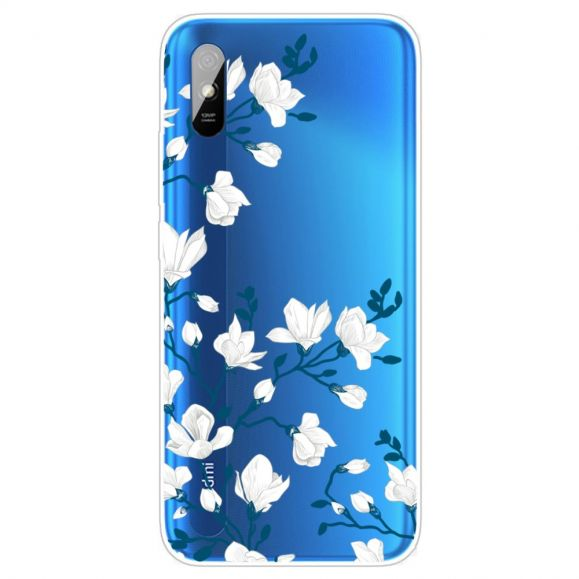 Coque Xiaomi Redmi 9A fleurs blanches
