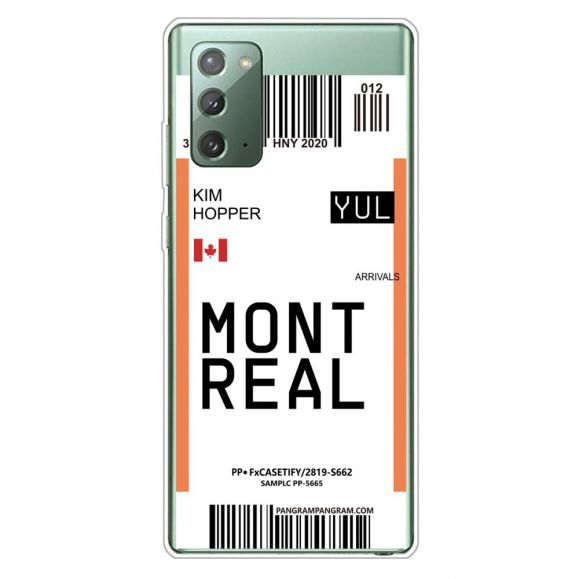 Coque Samsung Galaxy Note 20 Boarding Pass 04 MONTREAL