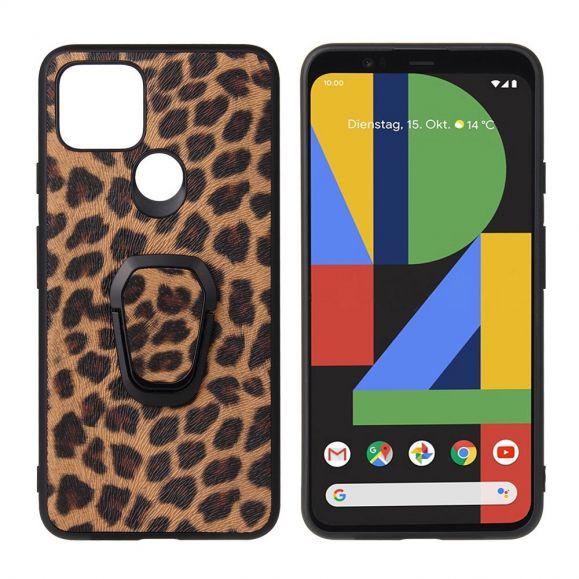 Coque Google Pixel 5 motif léopard avec anneau