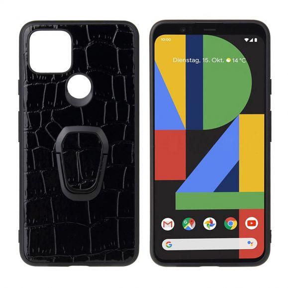 Coque Google Pixel 5 effet croco avec anneau