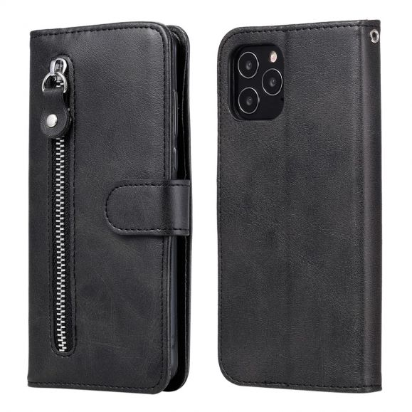 Housse iPhone 12 Pro Max Zipper Pocket Effet Cuir
