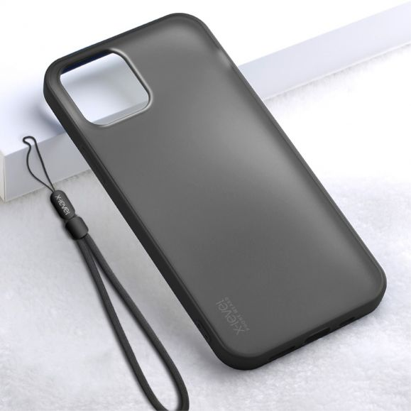 Coque iPhone 12 Pro / 12 effet mat avec lanière