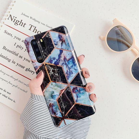 Coque Huawei P30 Pro marbre style géométrique