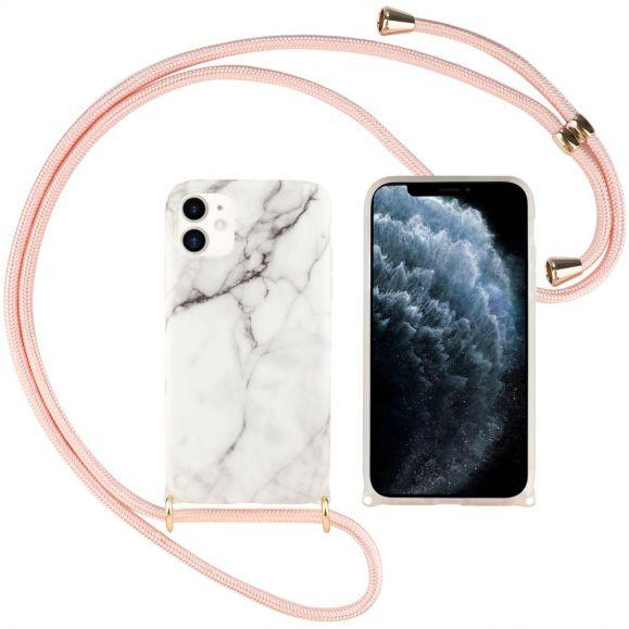 Coque iPhone 12 / 12 Pro Marbre avec cordon bandoulière