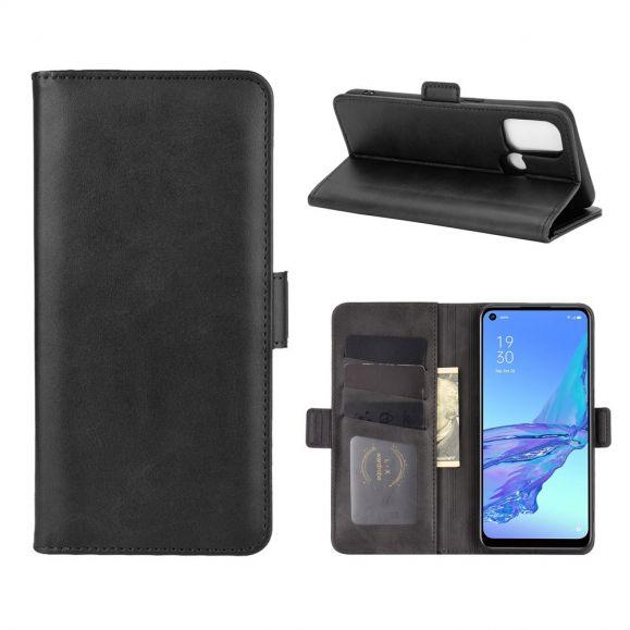 Étui portefeuille Oppo A53 revêtement simili cuir mat