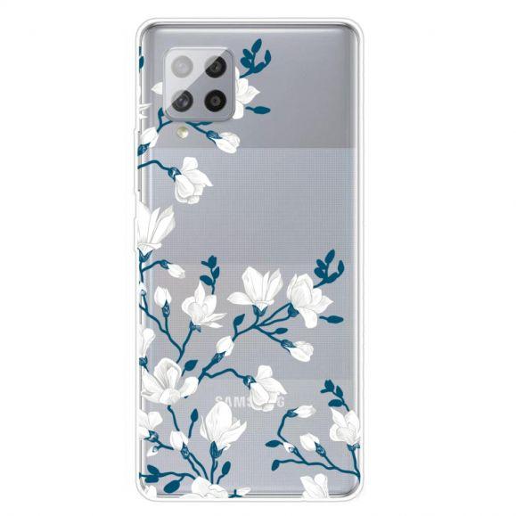Coque Samsung Galaxy A42 5G fleurs blanches
